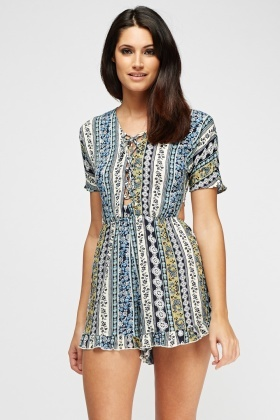 Cut Out Back Printed Blue Playsuit