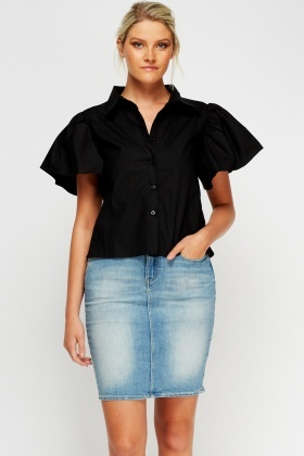 Flared Sleeve Cut Out Back Shirt