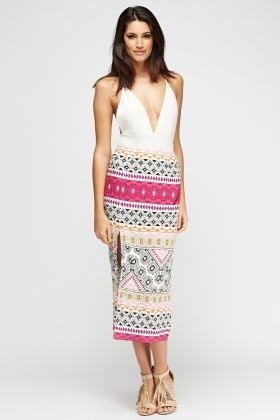 Mixed Print Slit Side Skirt