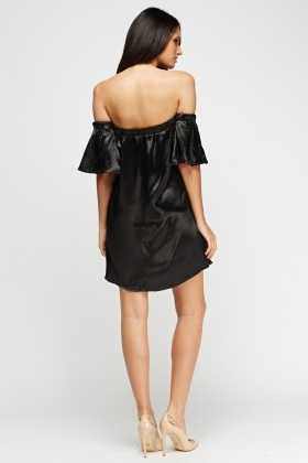 Off Shoulder Silky Mini Dress