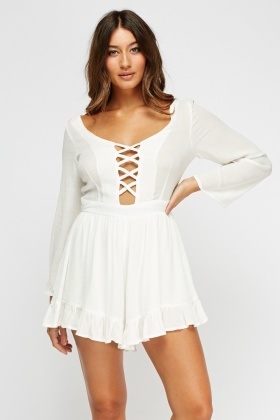 White Criss Cross Playsuit