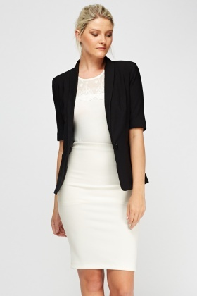 3/4 Sleeve Black Blazer