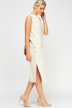 Button Detail Side Midi Dress
