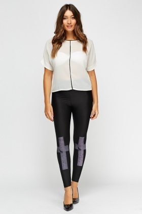 High Waist Cross Print Leggings