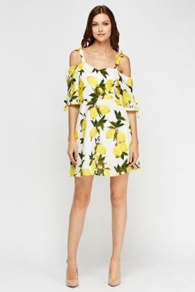 Aikha Cold Shoulder Lemon Printed Dress