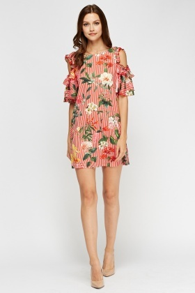 Aikha Mixed Print Cut Out Shoulder Dress