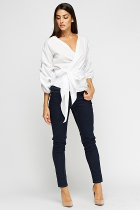 Aikha Ruched Sleeves White Top
