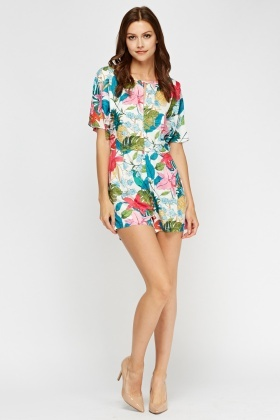 Alkha Floral Print White Playsuit