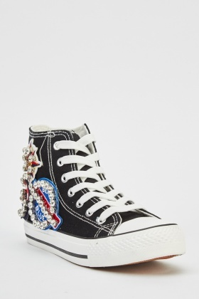 Applique High Top Trainers