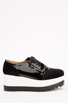 Contrast Platform Lace Up Shoes