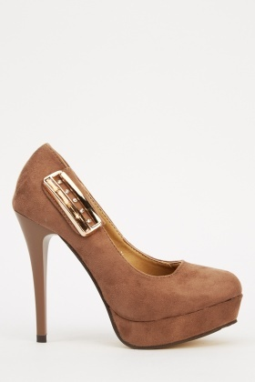 Detailed Side Suedette High Heels