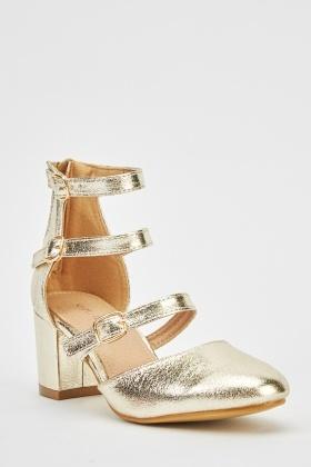 f2cd78bf093 Metallic Gold Mid Heel Shoes - Just £5