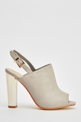 Metallic Heel Suedette Sandals