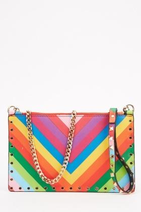 Rainbow Studded Clutch Bag