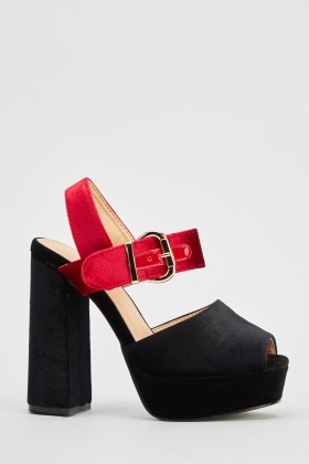 Velveteen Block Heel Sandals