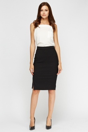 Dotted Slit Side Pencil Skirt