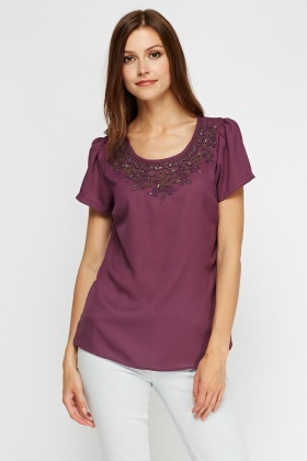 Encrusted Neck Casual Top