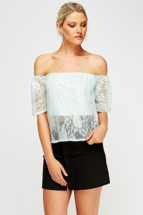 Off Shoulder Overlay Light Blue Top