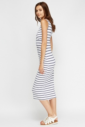 Plunge Stripe Midi Dress