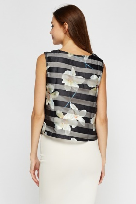 Printed Mesh Sleeveless Top