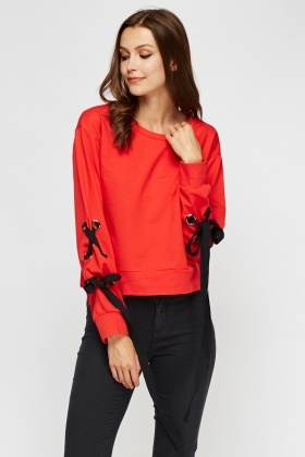 Tie Up Sleeve Cropped Sweater