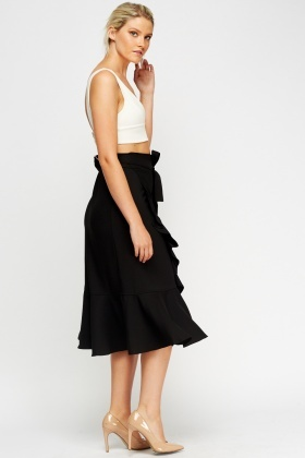 Wrap Flared Midi Skirt