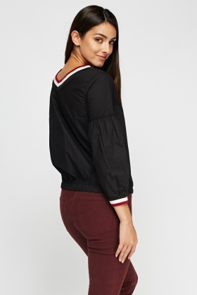 Contrast Trim Casual Top