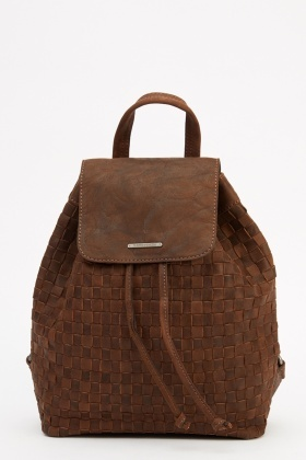 Marco Venezia Leather Riss Basket Weave Backpack