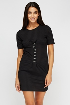 Ribbed Detailed Waist Dress