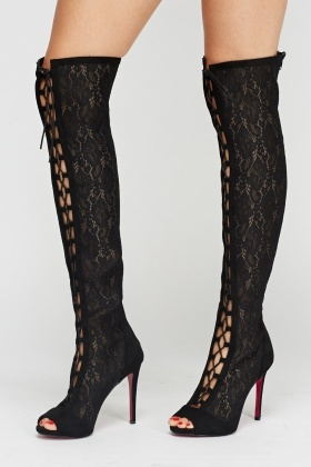 62993998b7e Wlady Mesh Lace Up Over The Knee Boots - Limited edition