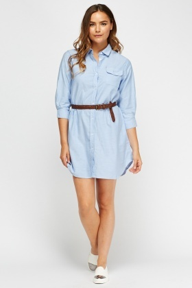 Button Up Denim Shirt Dress