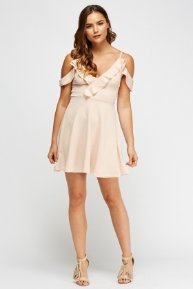 Frilled Front Cold Shoulder Dress