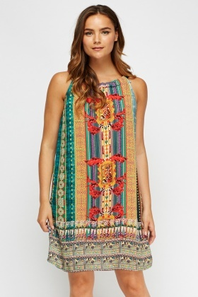 Printed Sleeveless Tunic Dress