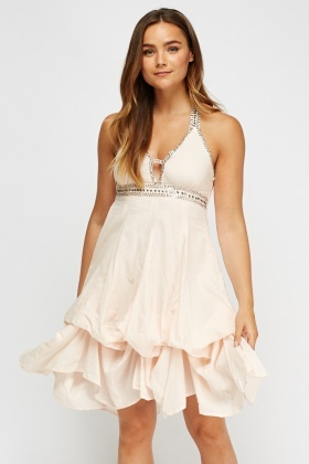 Ruched Embellished Halter Neck Dress