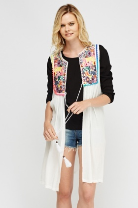 Embroidered Longline Cover Up