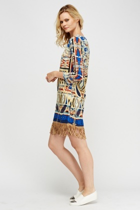 Geo Printed Fringed Hem Dress