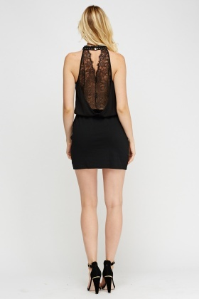 Halter Neck Lace Contrast Dress