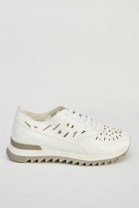 Laser Cut Faux Leather Trainers