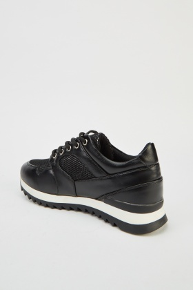 Lurex Lace Up Contrast Trainers