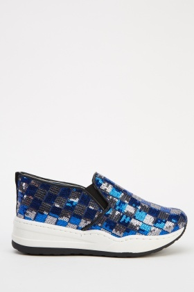 Sequin Chess Slip On Shoes