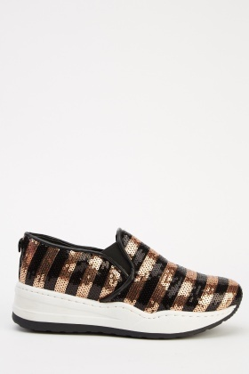 Sequin Stripe Slip On Shoes
