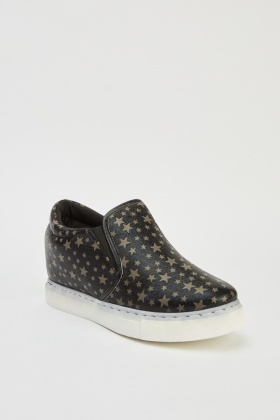 Star Printed Wedge Slip On Shoes
