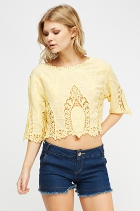 Crochet Contrast Crop Top