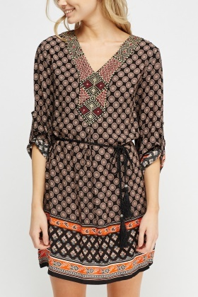 Embroidered Print Tunic Dress