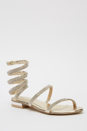 Encrusted Wrap Around Sandals