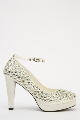 LYDC London Ankle Strap Embellished Sateen Heels