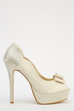 LYDC London Diamonte Back Bow High Heels