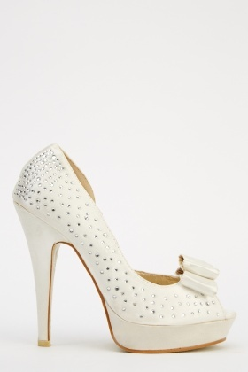 LYDC London Diamonte Bow High Heels