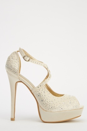 LYDC London Diamonte Peep Toe Heels
