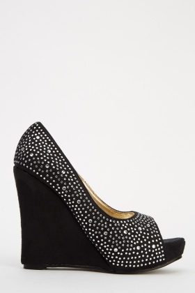 LYDC London Peep Toe Encrusted Wedges